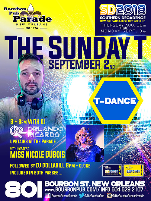 Southern Decadence Tea Dance, Sunday, September 2